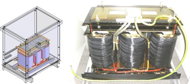 Three-phase transformer in a metal housing