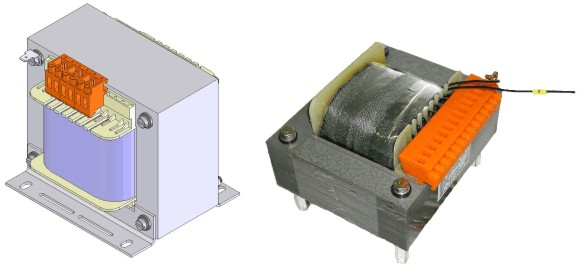 EI transformers with block terminals and mounting angle