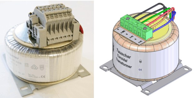 Toroidal transformers mounted on base plate